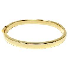 14k Yellow Gold Polished Finish 6.5mm Oval Bangle Bracelet Italy 7.25 Inches