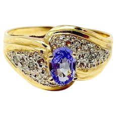 14k Yellow Gold Oval Cut Iolite and Diamond Ring Size 8