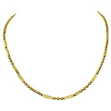 22k Fine Yellow Gold Thai Baht Fancy Link Chain Necklace 17.5 Inches