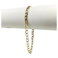 10k Yellow Gold Hollow Light Curb Link Chain Bracelet Italy 8.5 Inches