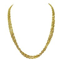14k Yellow Gold Sparkle Mesh Style Triple Strand Twisted Rope Chain Necklace 20""
