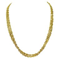 """14k Yellow Gold Sparkle Mesh Style Triple Strand Twisted Rope Chain Necklace 20"""""""