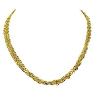 """14k Yellow Gold Sparkle Mesh Style Triple Strand Twisted Rope Chain Necklace 16"""""""
