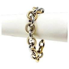 """14k Yellow and White Gold Two Tone Circle Cable Link Chain Bracelet Italy 7.75"""""""