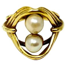 14k Yellow Gold Vintage Two Akoya Cultured Pearls Ring Size 5.5