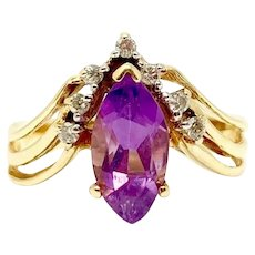 14k Yellow Gold Marquise Cut Amethyst and Diamond Ring Size 5