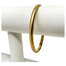 14k Yellow Gold Satin Finish Bangle Bracelet Slip Over 7.75 Inches