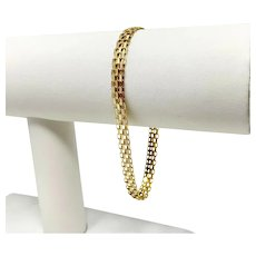 14k Yellow Gold 5.5mm Bismark Link Chain Bracelet 7.5 Inches