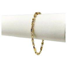 14k Yellow Gold Diamond Cut Fancy Link Chain Bracelet 7 Inches