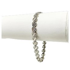 14k White Gold Intricate Diamond Cut Heart Link Chain Bracelet 7.5 Inches