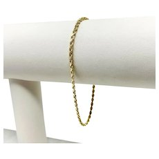 14k Yellow Gold Diamond Cut 1.5mm Rope Chain Bracelet 7 Inches