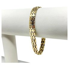 14k Yellow Gold 13.1g Fancy Track Link Chain Bracelet Italy 7 Inches
