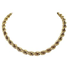 14k Yellow Gold 24.9g Hollow Rope Chain 7.5mm Wide Thick Necklace 16 Inches
