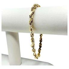 14k Yellow Gold 19.3g Heavy Diamond Cut 5.5mm Rope Chain Bracelet 8 Inches