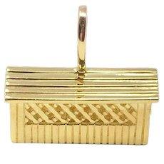 18k Solid Yellow Gold 8.5g Covered Bridge Charm Bracelet Charm Pendant