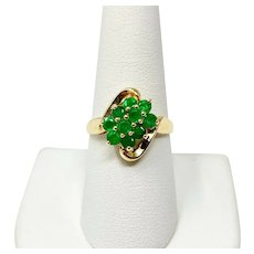 14k Yellow Gold and Emeralds Floral Cluster Ring Size 8.5