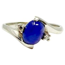 14k White Gold Blue Six Point Star Sapphire Ring Size 8