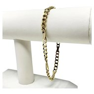 14k Solid Yellow Gold 15.8g Modified Fancy Curb Link Bracelet Italy 8.5 Inches