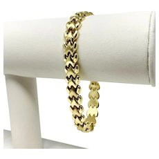 14k Yellow Gold Ladies Polished and Satin Finish Fancy Link Bracelet 7.25""