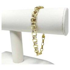 14k Yellow Gold Hollow Light Triple Circle Link Charm Bracelet Peru 8 Inches