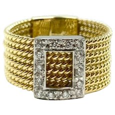 18K Yellow and White Gold .35ct VS2 G Diamond Band Ring Size 7