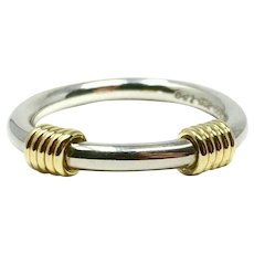 Tiffany & Co. Sterling Silver and 18k Yellow Gold Triple Coil Ring Band Size 6