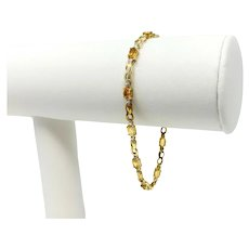 10k Yellow and White Gold Orange Citrine Tennis Link Bracelet 7.25 Inches