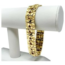 14k Solid Yellow Gold Heavy 60g Men's Nugget Style Link Bracelet 8.5 Inches