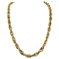 14k Yellow Gold 46.7g Fancy Polished Textured Oval Cable Link Chain Necklace 26""