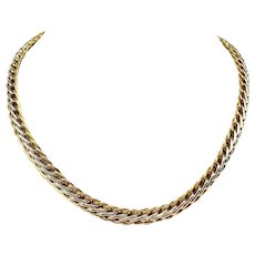 14k Yellow White Gold Two Tone Fancy Modified Wheat Chain Necklace Turkey 17""
