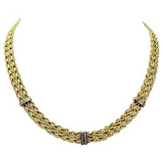 14k Yellow Gold and Diamond 8mm Four Rope Chain Necklace 17 Inches