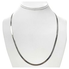 """14k White Gold Reversible Etched Herringbone Link Chain Necklace Italy 22"""""""