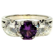 14k White Gold Custom 1ct Purple Sapphire and Two 1ct Moissanite Ring Size 9