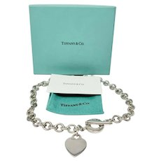 Tiffany & Co. Silver 925 Heart Tag Toggle Necklace w/ Box & Pouch 16""