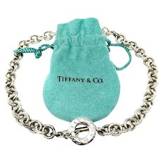 Tiffany & Co. Silver 925 Toggle Link Necklace with Pouch 16 Inches