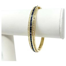 14k Yellow Gold 1.32ct Diamond and Blue Sapphire Hinged Bangle Bracelet 6.75""