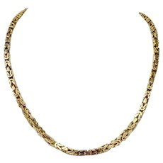 14k Yellow Gold Solid Heavy 51.4g Byzantine Link 4mm Chain Necklace 19.5""