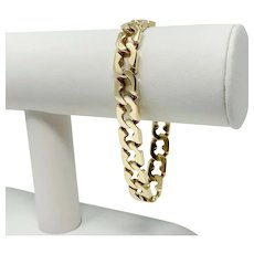 14k Yellow Gold 39.5g Men's Fancy Modified 9.5mm Curb Link Bracelet 8""