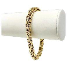 36cec5af495e08 18k Yellow Gold Designer 5.5mm Byzantine Link UnoAErre Bracelet Italy 7.5