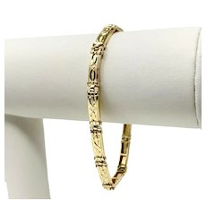 14k Yellow Gold Fancy Etched Bar Link Bracelet 7.25 Inches