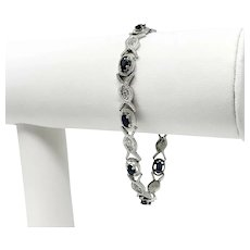14k White Gold Blue Sapphire and Diamond Fancy Ladies Bracelet 7 Inches
