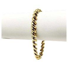 10k Yellow Gold 6mm San Marco Macaroni Link Chain Bracelet 7 Inches