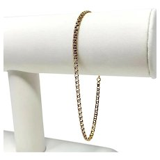 19k Fine Yellow Gold Thin Light Double Circle Link Charm Style Bracelet 8""