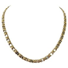 10k Yellow Gold Hugs and Kisses Screw Link Chain Necklace 18 Inches