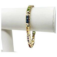 14k Yellow Gold Topaz Amethyst Citrine Gemstone Link Bracelet 7.25 Inches