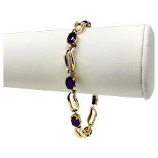 14k Yellow Gold Oval Cut Amethyst Fancy Link Chain Bracelet 7 Inches