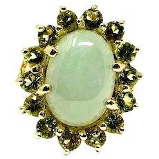 14k Yellow Gold Cabochon Jade and Peridot Halo Ring Size 4.5