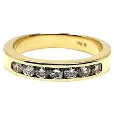 14k Yellow Gold and .56ct Ladies Diamond Wedding Ring Band Size 7.5