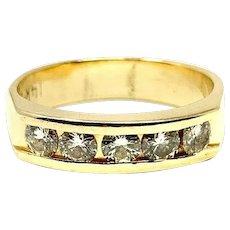 14k Yellow Gold and .6ct Ladies Diamond Wedding Ring Band Size 6.5