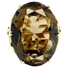 14k Yellow Gold Oval Cut 12.8ct Smoky Quartz Cocktail Ring Size 5